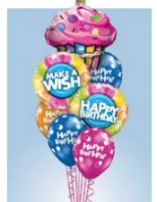 Cupcake bouquet with 2 foils and 4 printed latex