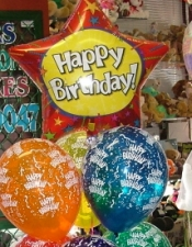 Happy Birthday Standard Bouquet with 6 printed latex and honeycomb weight