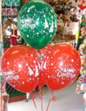 4 balloons with christmas prints