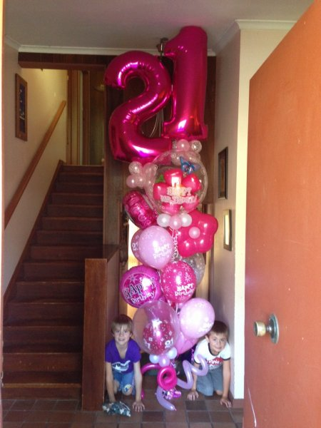 21 Pink Huge Balloon Bouquet Happy Birthday