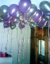 Lavender and silver flaoting balloons