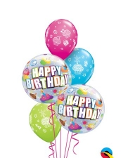Cupcake bubbles birthday